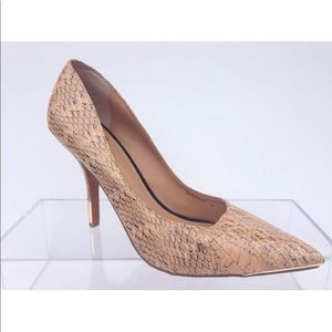DOLCE VITA Beige Snake Print Patent Leather Heels